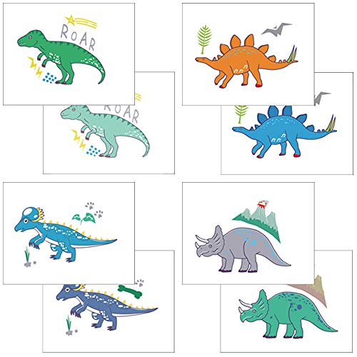 Dinosaur Temporary Tattoos Kids Birthday Party Favors Dino Face Body Sticker Non-Toxic Jungle Jurassic T-rex Kindergarten Handmade 32pcs