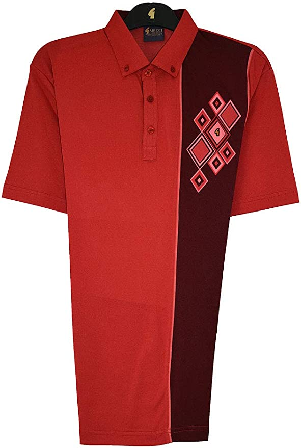 1950s Men's Clothing Gabicci - Plain Polo Shirt with Contrasting Block and Diamonds £45.00 AT vintagedancer.com