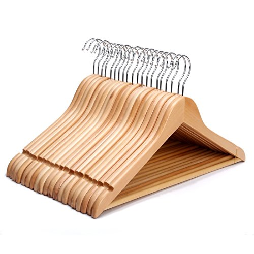 J.S. Hanger Solid Wooden Suit Hangers Natural Finish with Anti-rust Hooks and Non-slip Bar - 20 Pack