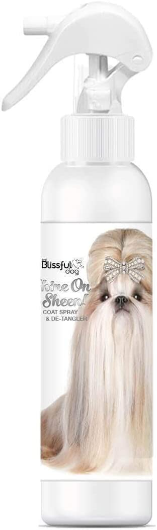 The Blissful Dog Shine-On + Sheen Coat Spray, All Natural Leave in Conditioner and Detangler for Your Dog