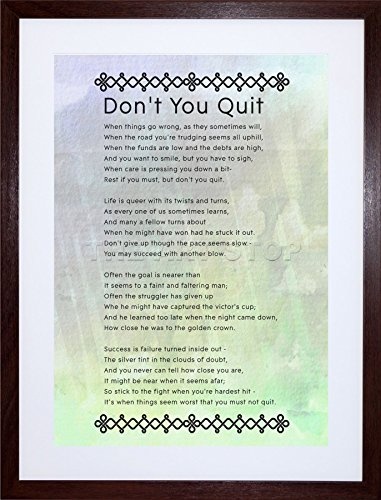 9x7 INCH DON'T YOU QUIT POEM MOTIVATION TYPOGRAPHY QUOTE FRAMED WALL ART PRINT PICTURE PAINTING WOODEN PHOTO FRAME BLACK WHITE OAK BROWN F97X275