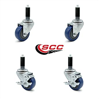 3 Caster 2 w//brake Polyurethane Wheel 3//8 Threaded Stem Set of 4