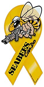 "Ribbon Shaped Magnet - Seabees - United States Navy Construction Battalion - Sea Bees CB - 8"" x 3.75"" by Crazy Sticker Guy"