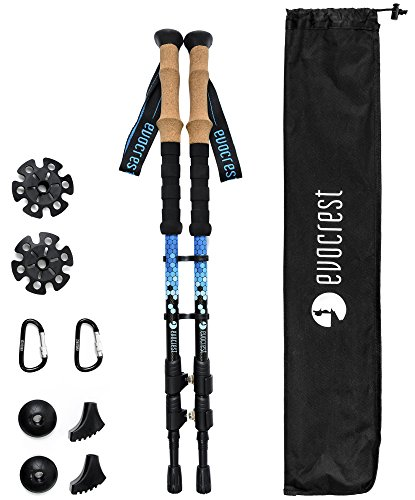Evocrest Carbon Fiber Trekking Poles Collapsible, Shock Absorbent, Ultra Lightweight Hiking Walking Sticks Quick Locks, Cork Handle All Terrain Accessories Included