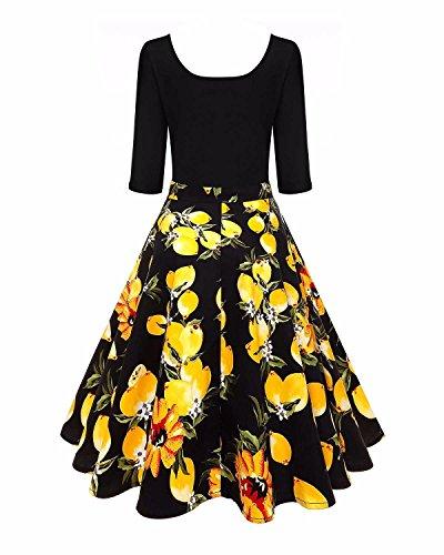 Floral Vintage Robe Rétro Des Années 1950 Des Femmes Biubiu Évasé Une Ligne Robe De Swing Midi Jaune