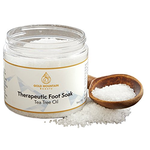 Tea Tree Oil Foot Soak with Epsom Salt. Helps Soak Away Athletes Foot, Fungi Nail, Toe Nail Fungus & Stubborn Foot Odor – Anti-Fungal, Anti-Bacterial, Soften Calluses & Soothes Sore Tired Feet (Whit