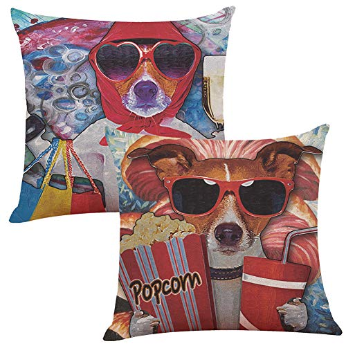 Dog Decorative Throw Pillow Case Dressed Up Hipster Dog with Glasses Hand Drawn Sketchy Fashion Animal Fun Pillow Cover Decorative Square Accent Pillow Case for Bed Sofa Chair (Dogs Pillows Decorative)