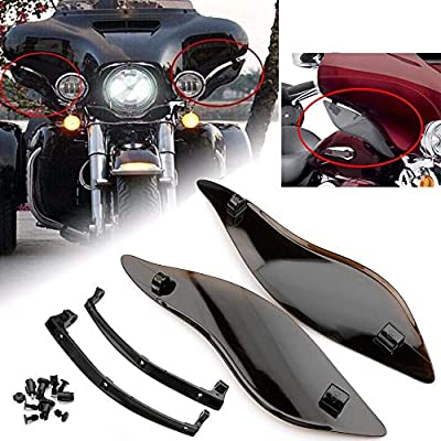 Smoke Adjustable Side Wings Windshield Windscreen Air Deflectors Fairing Side Cover Shield For Harley Touring Street Glide 2014-2017