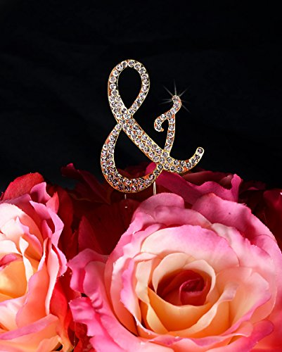 Completely Covered Monogram Rhinestone Cake Topper - Large - Gold (4.75