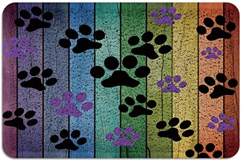 Outdoors Area Rubber Doormat Colorful Dog Puppy Paws Kitty Cat Pet Welcome Doormats Floor Mats Patios Entryway Entrance Front Bedroom Outside Carpets Non Slip Rubber Back,2 x3