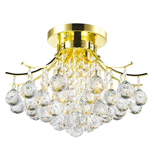 Brilliance Lighting and Chandeliers French Empire 3-Light Full Lead Crystal Gold Finish Flush Mount Ceiling Light (Lead Crystal Gold Flush Mount)