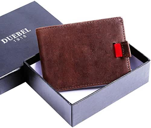 DUEBEL RFID Blocking Bifold Slim Genuine Leather Minimalist Front Pocket Wallets for Men Slim Money Clip Credit Card Holder