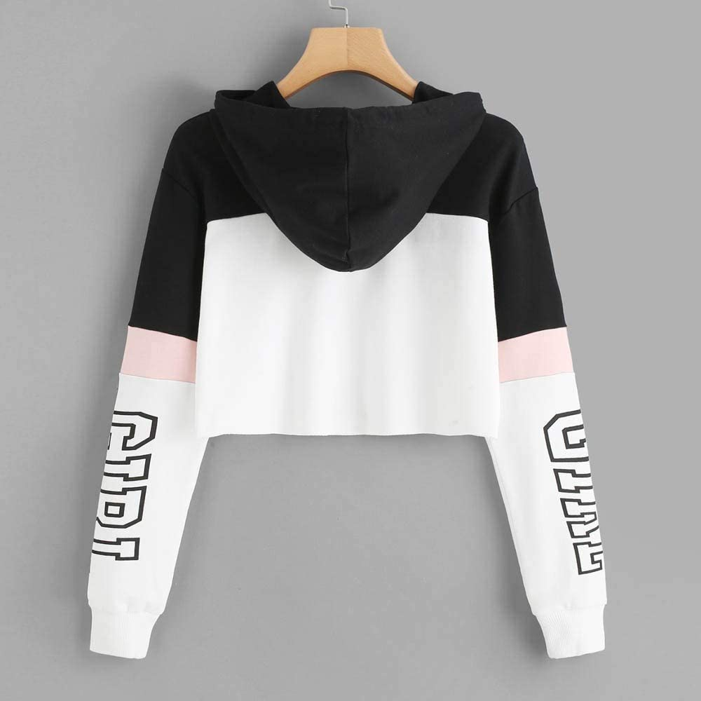 ZUong2 Womens Letter Print Crop Top Hoodie Casual Long Sleeve Hooded Sweatshirt Slouchy Pullover for Teen Girls