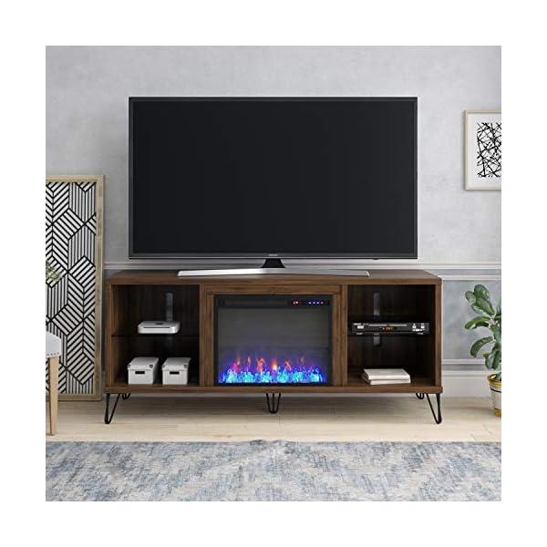 Novogratz Concord TV Stand with Fireplace, Walnut