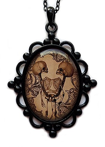 Large Black Framed Conjoined/Siamese Twin Skeleton Cameo Pendant