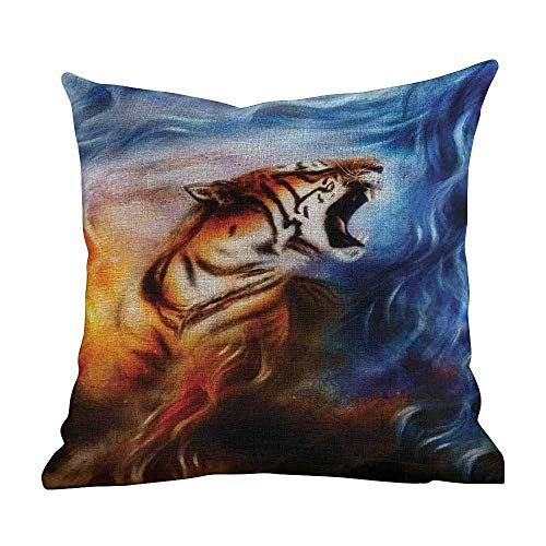 Cotton Pillow Cases Standard Size,Safari,Wild and Angry Tiger Portrait Fire Blue Flame Brave Mammal Forest King Roar,Blue Orange Black,Pillow Cases Soft and Confortable18 x18