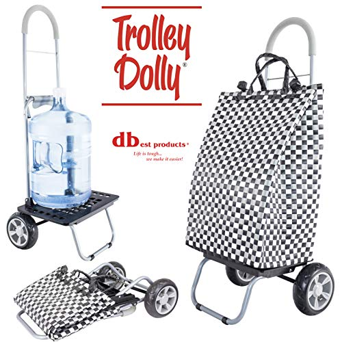 Trolley Dolly Basket Weave Tote, Black Shopping Grocery Foldable Cart Picnic -