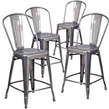 Flash Furniture 4-XU-DG-TP001B-24-GG 4 Pk. 24' High Coated Indoor Counter Height Stool with Back Clear