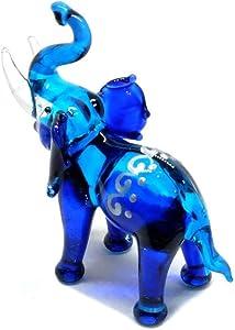 Handmade Mini Blue Elephant with Thai Art Glass Blown Wild Animal Figurine No.8 - Model Y2019 (Blue, Thai Art)