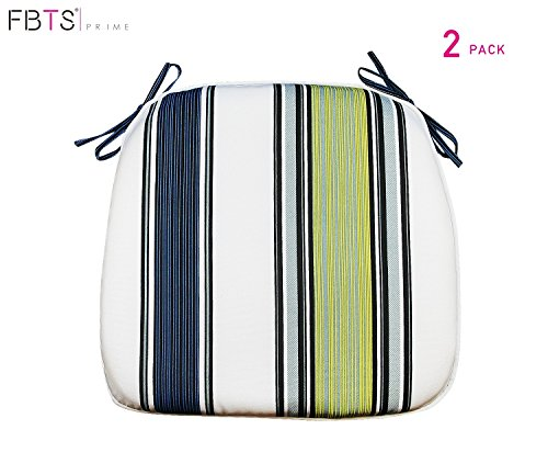 FBTS Prime Outdoor Chair Cushions (Set of 2) 16x17 Inches Patio Seat Cushions Navy Yellow and White Stripe Square Chair Pads for Outdoor Patio Furniture Garden Home -