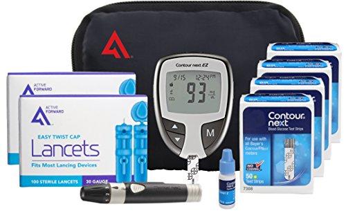 Contour NEXT Diabetes Testing Kit, 200 Count | Contour NEXT EZ Meter, 200 Contour NEXT Test Strips, 200 Lancets, Lancing Device, Control Solution, Manuals, Log Book & Carry Case