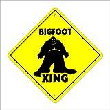 "Bigfoot Crossing Sign Zone Xing | Indoor/Outdoor | 12"" Tall Plastic Sign sasquatch big foot print monster fantasy big foot ape"