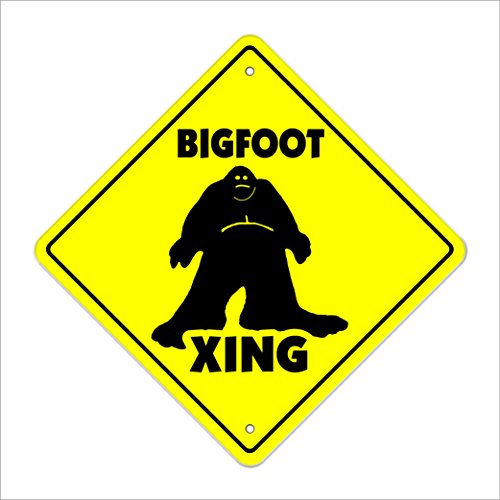 "SignMission Bigfoot Crossing Sign Zone Xing | Indoor/outdoor | 12"" Tall Sasquatch Big Foot Print Monster Fantasy Big Foot Ape, 0.13 Pound"