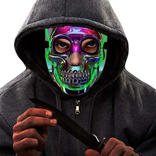 LED Light up Purge Mask - Scary Halloween Masks for Women Men Adults Kids Boys Girls Horror Skull Mask Costume White