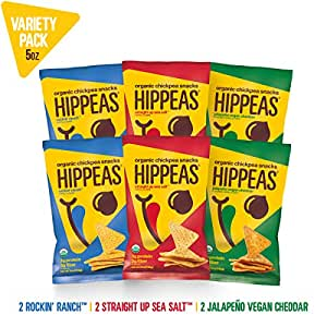 New HIPPEAS Organic Chickpea Snacks Variety Pack Tortilla Chips | 5 ounce, 6 count | Vegan, Gluten-Free, Crunchy, Protein Chips