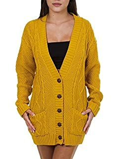 cfdde9d882 WearAll Women s Cable Knitted Button Cardigan Ladies Long Sleeve ...