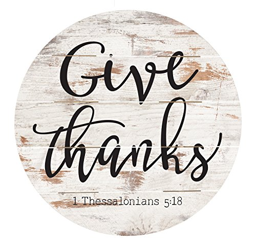 Give Thanks Black Script Design White Distressed 26 x 26 Inch Pine Wood Barrel Top Wall Plaque Sign