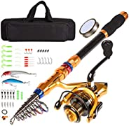 CLORIS Fishing Rod and Reel Combo Saltwater Freshwater-7 FT Carbon Fiber Telescopic Fishing Pole and Reel Comb