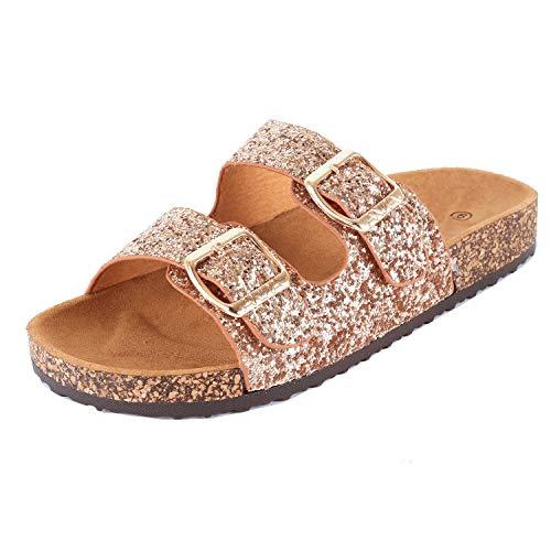 Womens Slippers Double Strap Easy Slip On Flip Flops Thong Casual Slides Sandals Flats (6 M US, Pinkv2 Glitter)