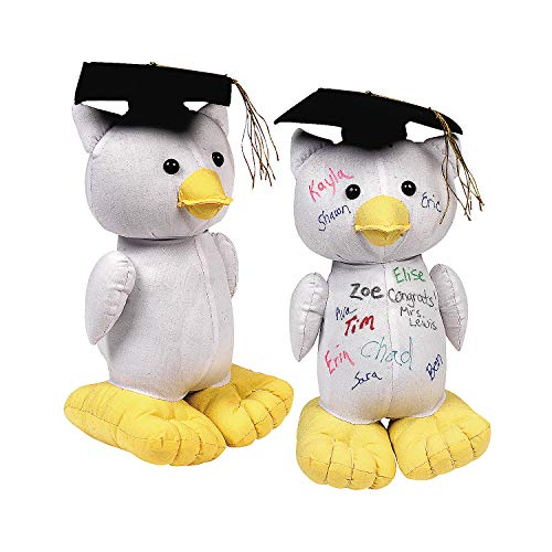 Fun Express - Graduation Autograph Owl for Graduation - Toys - Plush - Stuffed Autograph - Graduation - 1 Piece -