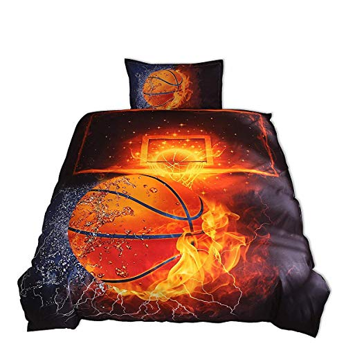 Bedding Set Print (Meeting Story Basketball with Fire Print Duvet Cover Bedding Set For Kids (Galaxy Basketball, Twin))