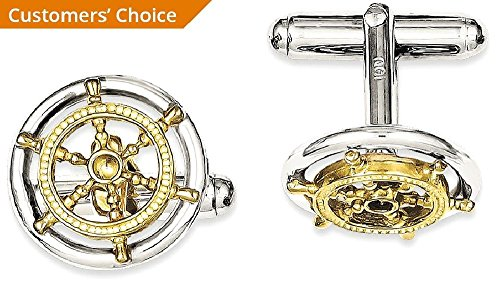 ICE CARATS 925 Sterling Silver Vermeil Sailor Wheel Cuff Links Mens Cufflinks Man Link Fine Jewelry Dad Mens Gift Set by ICE CARATS (Image #3)