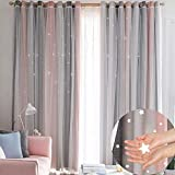 Hughapy Stripe Tulle Overlay Hollow-Out Stars Curtain Star Cut Out Blackout Curtains for Bedroom Double Layer Blackout Window Drape for Kids Room Bedroom (1 Panel, 52 x 84 inch, Stripe - Pink)
