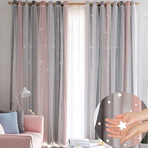 Hughapy Star Curtains Stars Kids Curtains for Bedroom Tulle Overlay Double Layer Star Cut Out Blackout Curtains, 1 Panel - (52W x 84L Inch, Pink & Grey) (Pink Curtain Stripe)