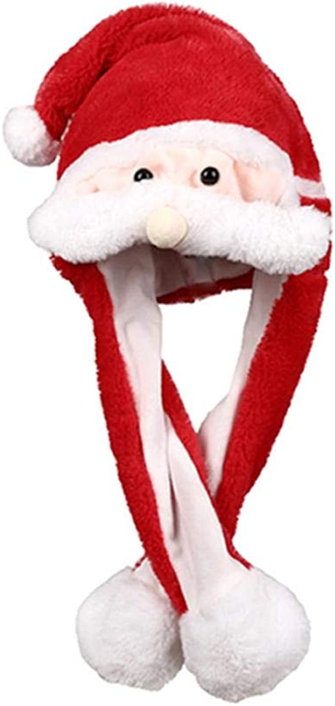 Domybest Cappello Natalizio Cappello in Peluche di Stile Babbo Natale Renne di Natale con con Luci Divertente Giocattolo per Bambini