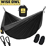 wwww Hammock for Camping - Single & Double Hammocks Gear For The Outdoors Backpacking Survival or Travel- DO Black & Grey-DoubleOwl