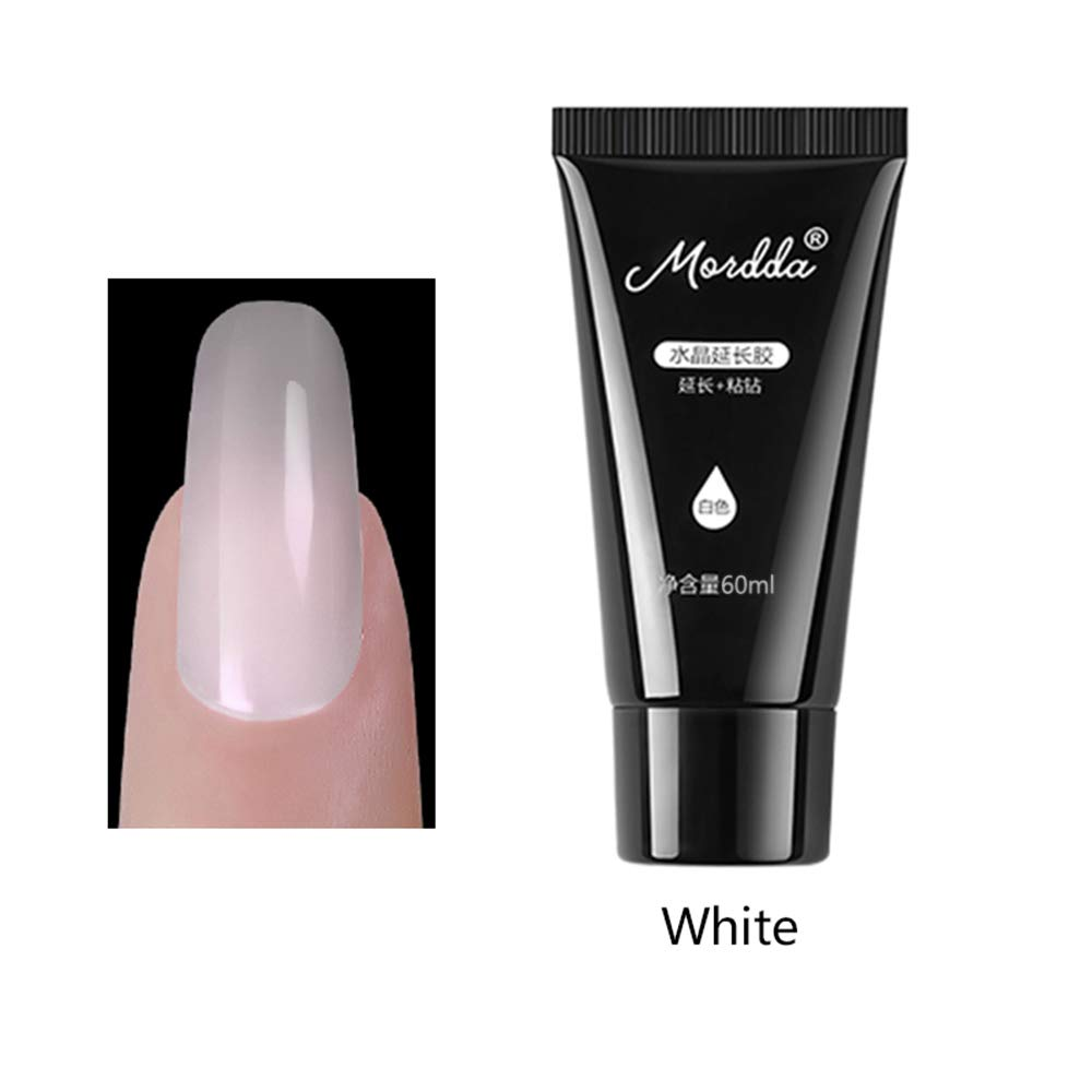 Nail Extension Gel FOONEE 60ml Nail Builder Gel Transparent Crystal Quick Poly Gel LED & UV Gel Extension Nail Builder, Builder Gel Nail Polish Gel Builder for Nails (white)