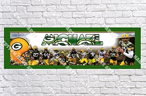 Personalized Green Bay Packers Banner - Includes Color Border Mat, With Your Name On It, Party Door Poster, Room Art Decoration - Customize Green Bay Packers Custom Room