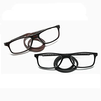 49e8f78231fd 2 Pack Reading Glasses Neck Hanging Eyewear Elderly Spectacles Magnetic  Clip Adjustable Eyeglasses Visual Acuity Clear