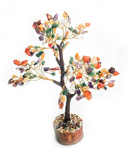 Crocon Natural Healing Gemstone Crystal Bonsai Fortune Money Tree for Good Luck, Wealth & Prosperity Spiritual Gift Size 10-12 Inch (Mix Chakra (Golden Wire))