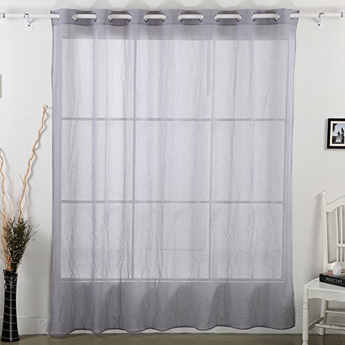 Deconovo Grommet Sheer Curtain Wide Width Linen Look Voile Curtain for Living Room Dark Gray Sheers100×95 Inch One panel