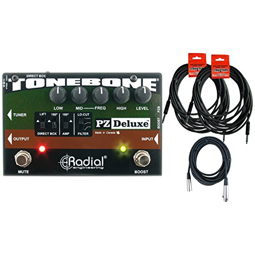Radial Engineering ToneBone PZ-Deluxe Acoustic Instrument Preamp w/Boost w/ 3 Cables (Radial Di Acoustic)