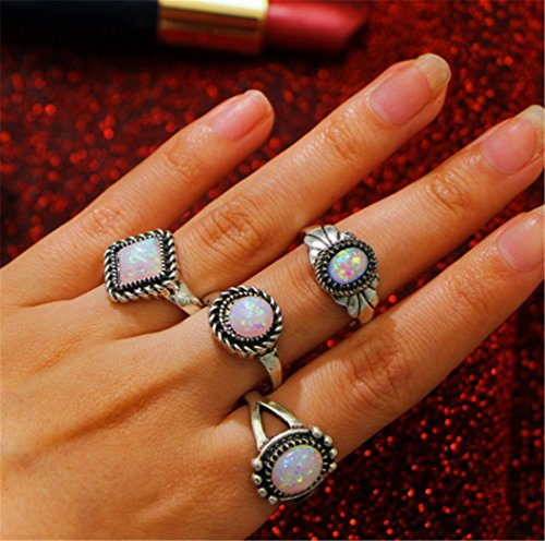 Fashion Joint - 4 Pieces Ring Female Retro Joint Ring Fashion Simple Jewelry