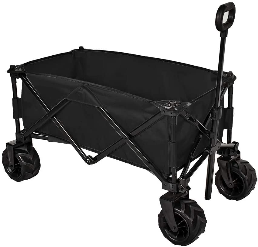 MAGIC UNION Folding Wagon Collapsible Utility Big Wheels Shopping Cart for Beach Outdoor Camping Garden Canvas Fabric All Terrain Heavy Duty Portable Grocery Cart Buggies Adjustable Handle (Black)