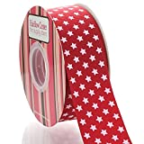 1.5'' Red with White Stars Grosgrain Ribbon 25yd