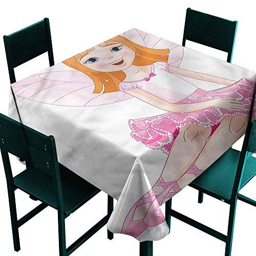 DONEECKL Easy Care Tablecloth Princess Young Angel with Wings Picnic W36 xL36